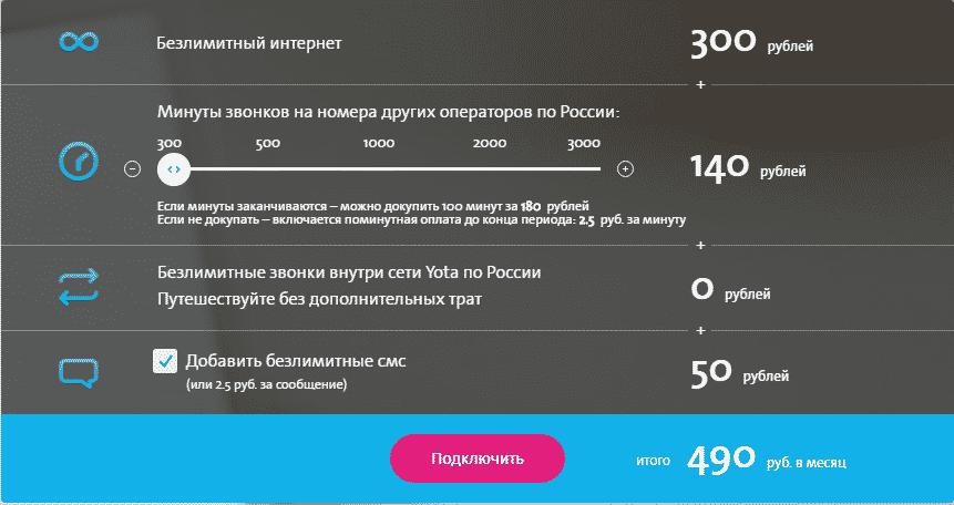выбор тарифов Yota для Москвы и Московской области